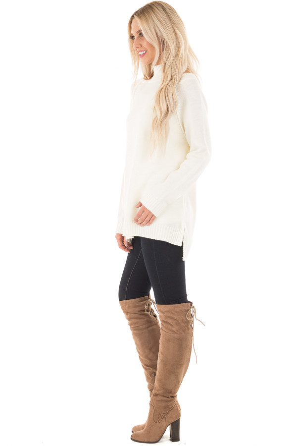 Off White Tunic Sweater with Cut Out Details side full body