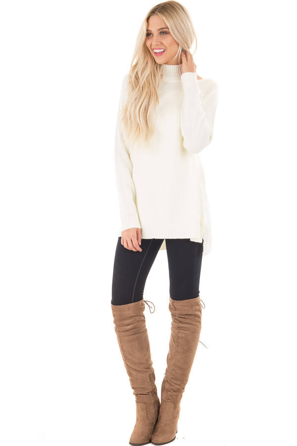Off White Tunic Sweater with Cut Out Details front full body
