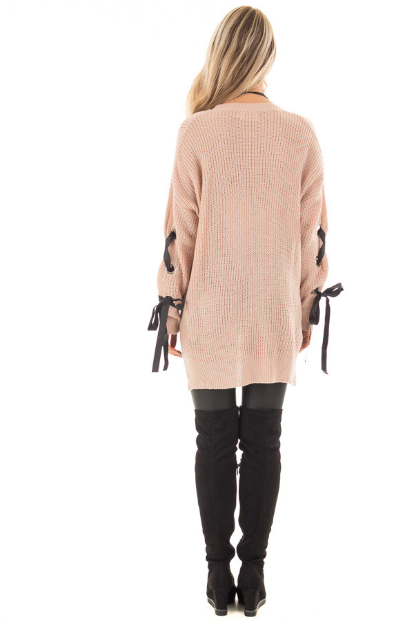 Mauve Long Rivet Lace Sleeve Sweater with Side Slits back full body