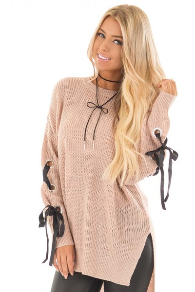 Mauve Long Rivet Lace Sleeve Sweater with Side Slits front close up