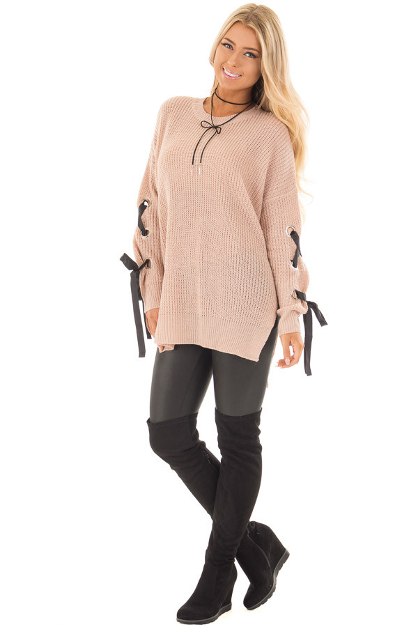 Mauve Long Rivet Lace Sleeve Sweater with Side Slits front full body