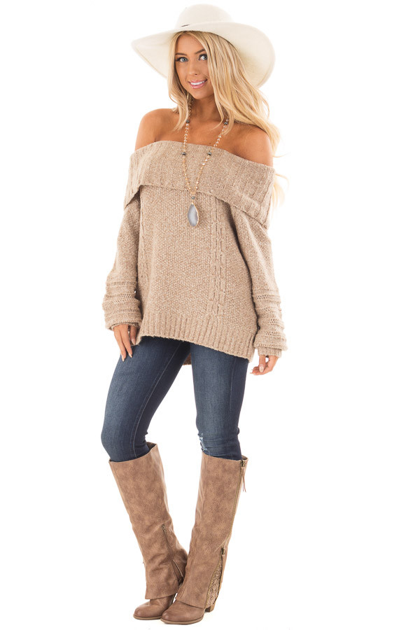 Light Mocha Fold Over Off the Shoulder Sweater | Lime Lush