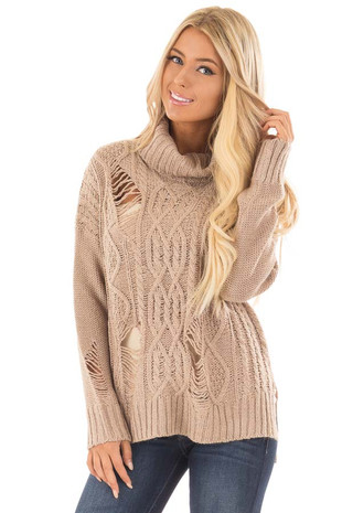 Mocha Long Sleeve Distressed Turtle Neck Sweater front close up