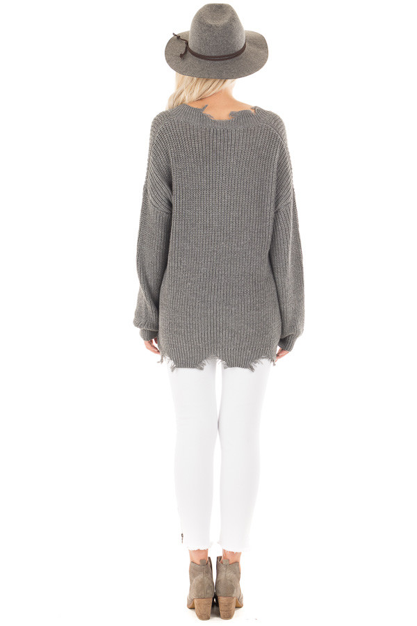 Charcoal Sweater with Distressed Neckline and Hemline back full body