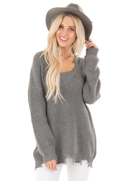 Charcoal Sweater with Distressed Neckline and Hemline front close up