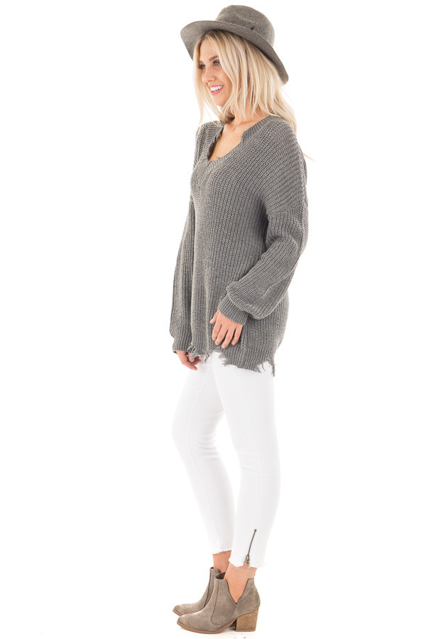 Charcoal Sweater with Distressed Neckline and Hemline side full body