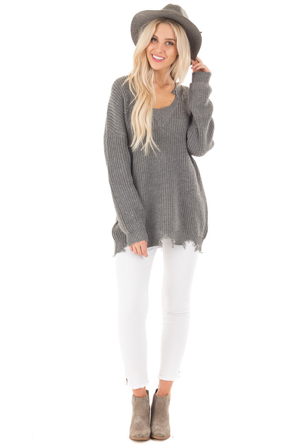 Charcoal Sweater with Distressed Neckline and Hemline front full body