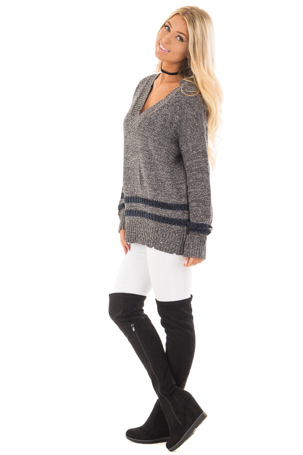 Charcoal Varsity Sweater with Navy Velour Stripes side full body