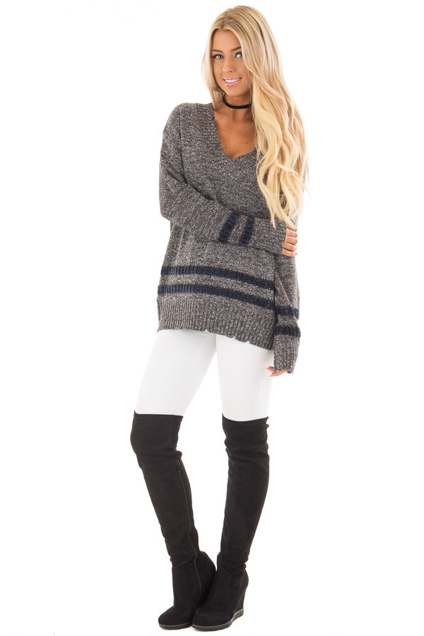 Charcoal Varsity Sweater with Navy Velour Stripes front full body