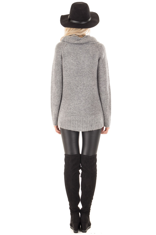 Grey Two Tone Side Slit Cowl Neck Sweater back full body