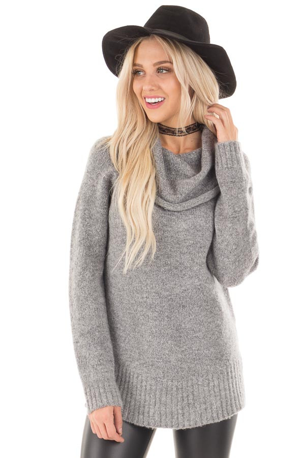 Grey Two Tone Side Slit Cowl Neck Sweater front close up
