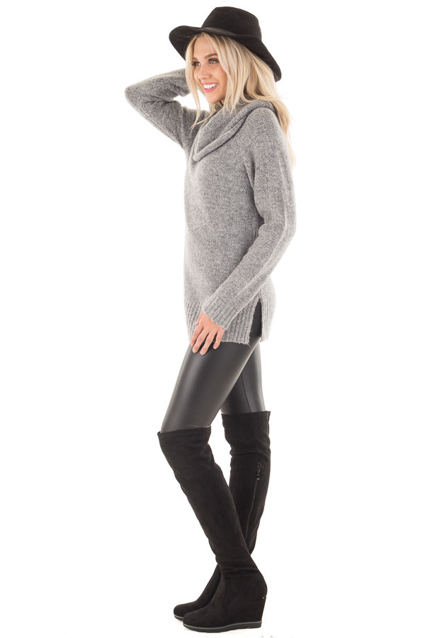 Grey Two Tone Side Slit Cowl Neck Sweater side full body