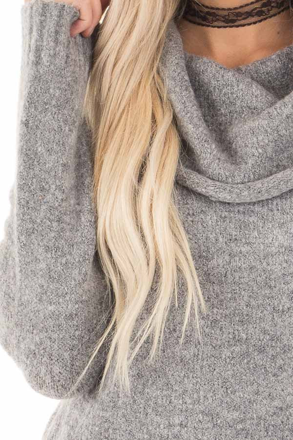 Grey Two Tone Side Slit Cowl Neck Sweater detail