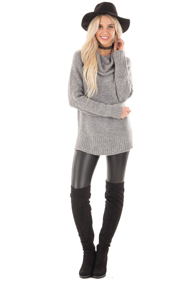 Grey Two Tone Side Slit Cowl Neck Sweater front full body