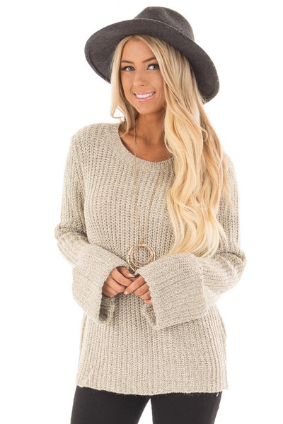Taupe Two Tone Oversized Long Sleeve Sweater front close up