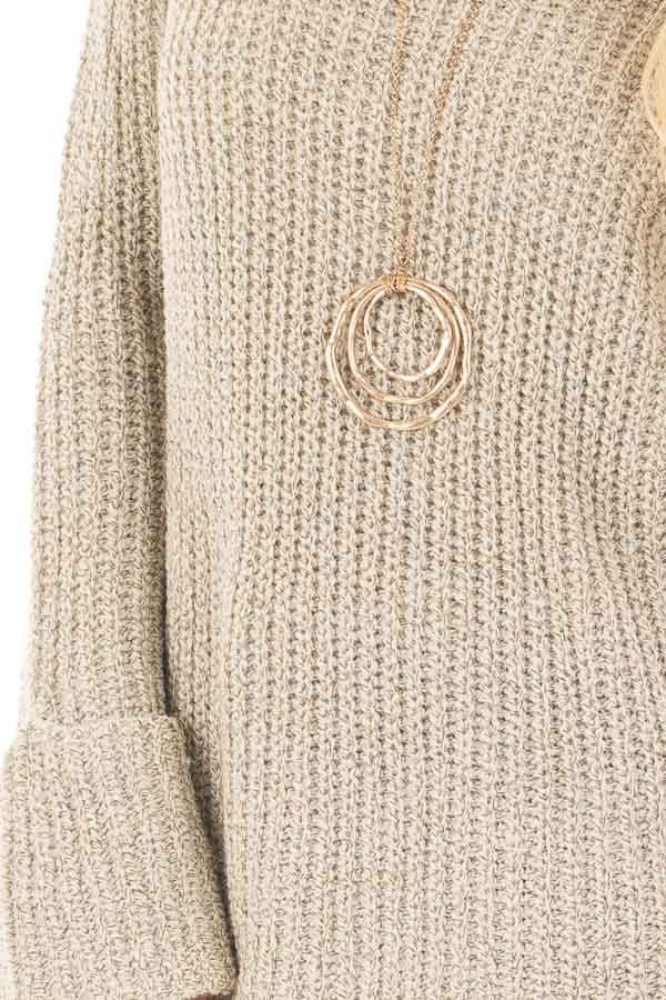 Taupe Two Tone Oversized Long Sleeve Sweater detail