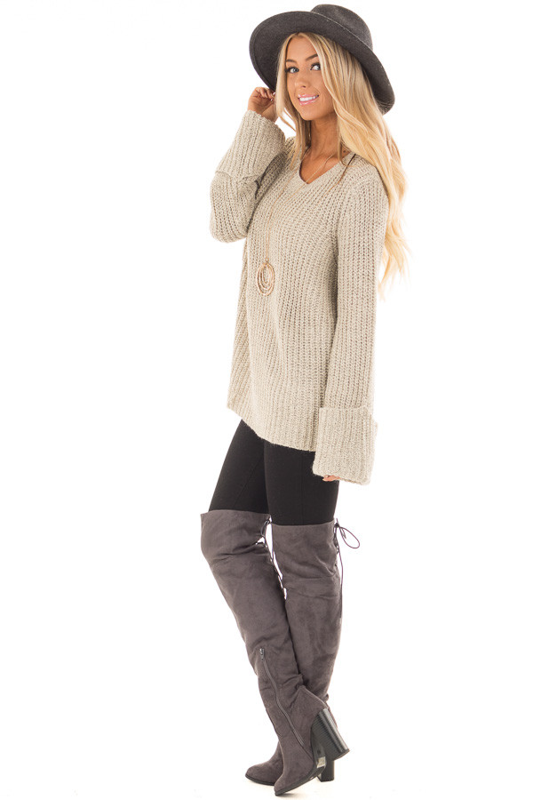 Taupe Two Tone Oversized Long Sleeve Sweater side full body