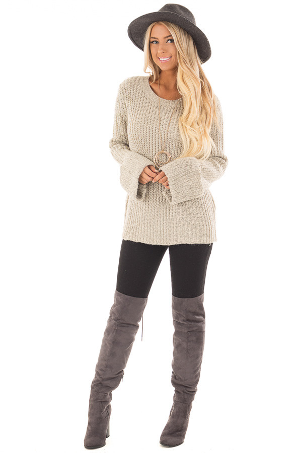 Taupe Two Tone Oversized Long Sleeve Sweater front full body