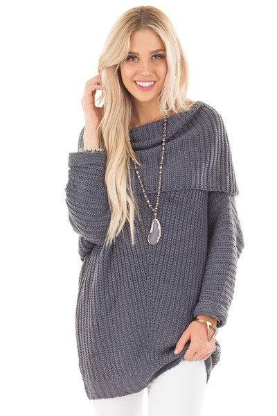 Dark Slate Blue Ribbed Sweater with Fold Over Neck front close up