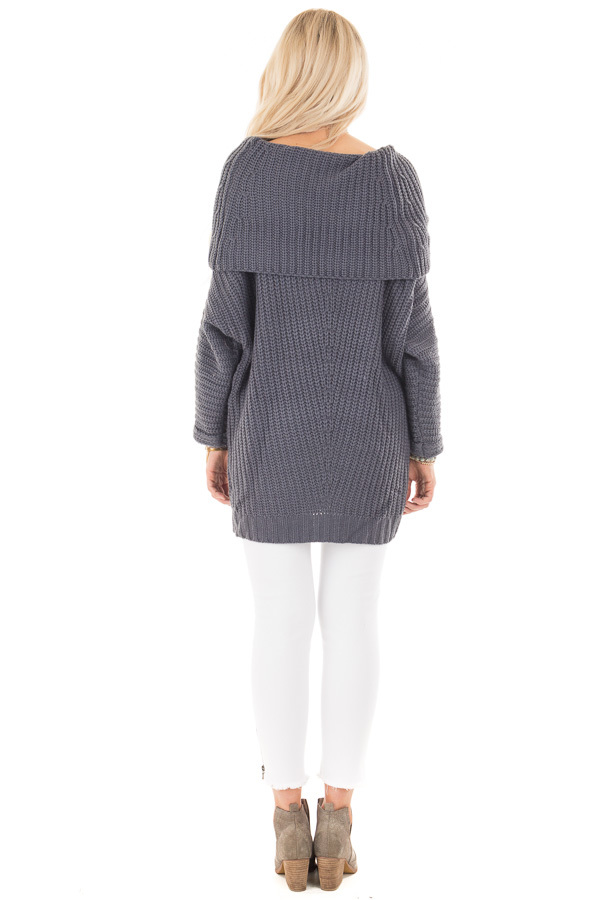Dark Slate Blue Ribbed Sweater with Fold Over Neck back full body