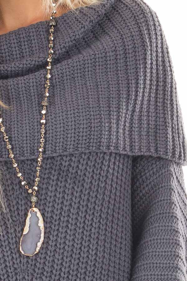 Dark Slate Blue Ribbed Sweater with Fold Over Neck detail