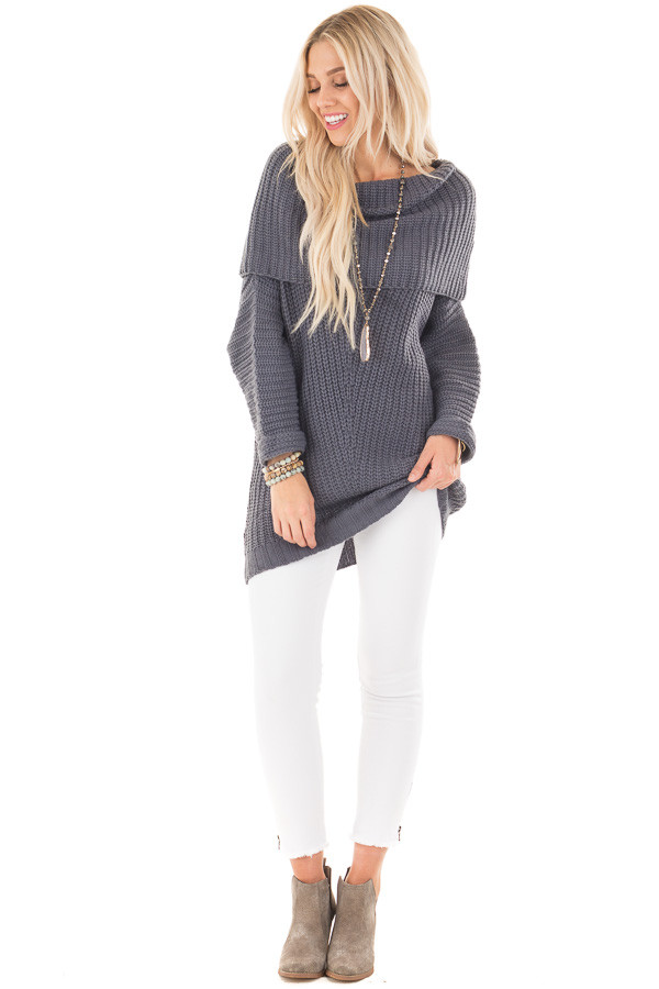 Dark Slate Blue Ribbed Sweater with Fold Over Neck front full body