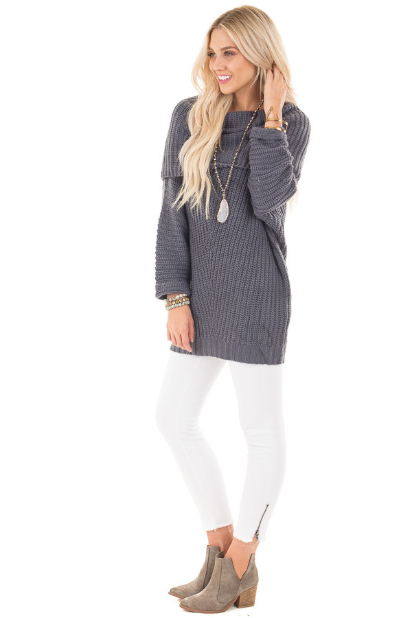 Dark Slate Blue Ribbed Sweater with Fold Over Neck side full body