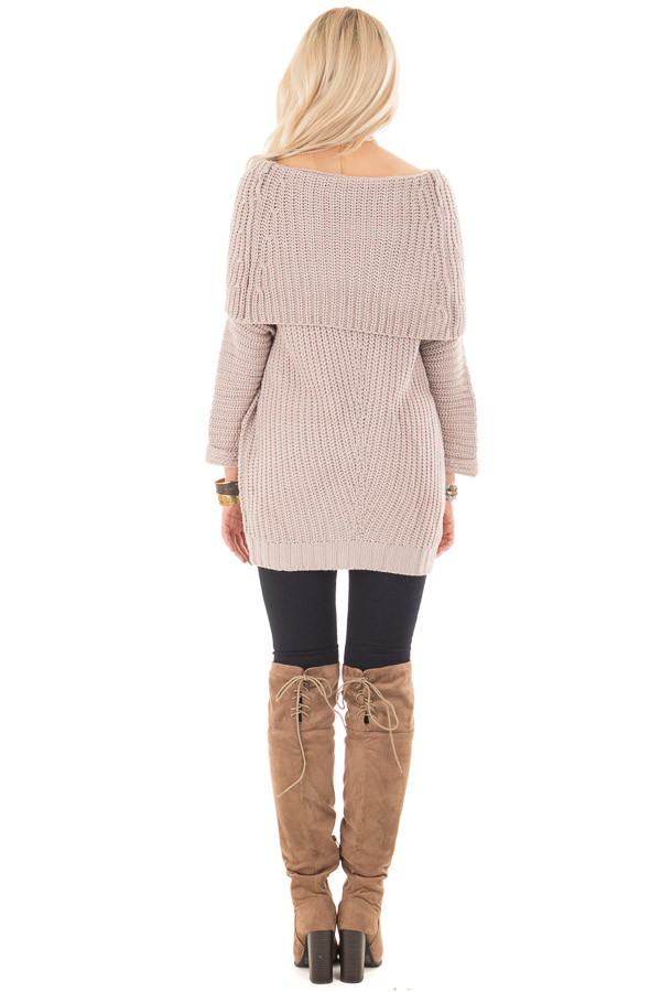 Light Mauve Ribbed Sweater with Fold Over Neck back full body