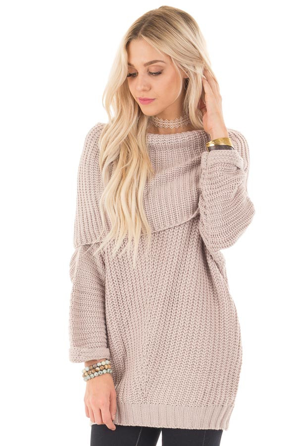 Light Mauve Ribbed Sweater with Fold Over Neck front close up