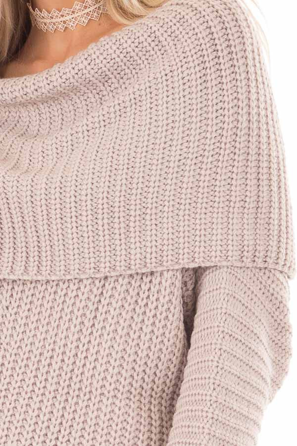 Light Mauve Ribbed Sweater with Fold Over Neck detail