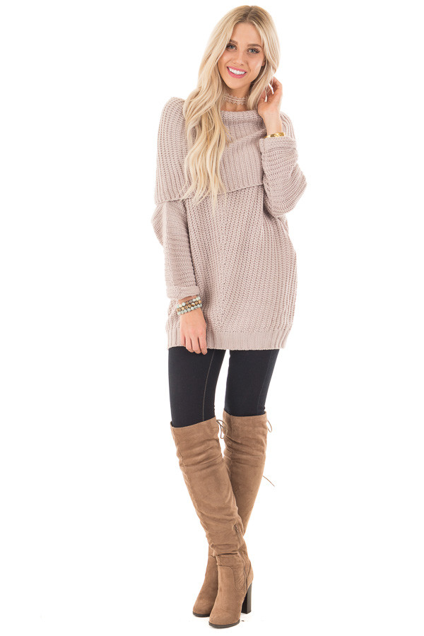 Light Mauve Ribbed Sweater with Fold Over Neck front full body