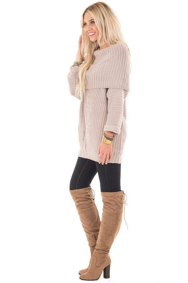 Light Mauve Ribbed Sweater with Fold Over Neck side full body