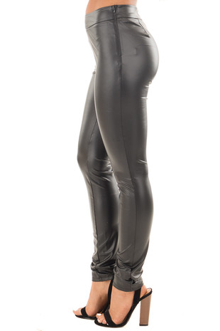Black Onyx Faux Leather Leggings side right leg