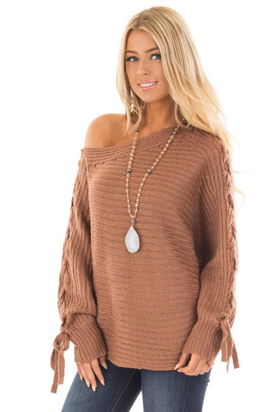 Deep Marsala Long Sleeve Sweater with Lace Up Sleeves front close up