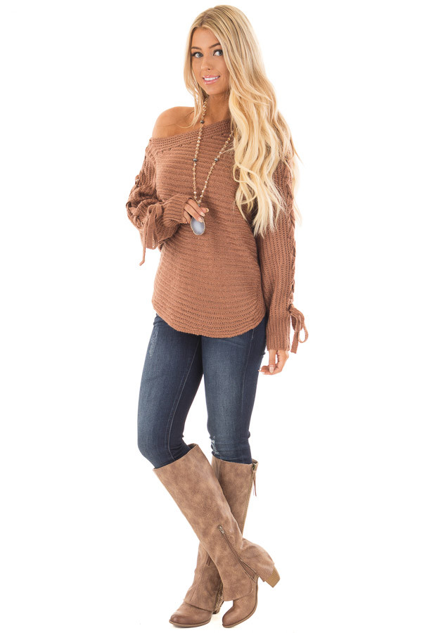 Deep Marsala Long Sleeve Sweater with Lace Up Sleeves front full body