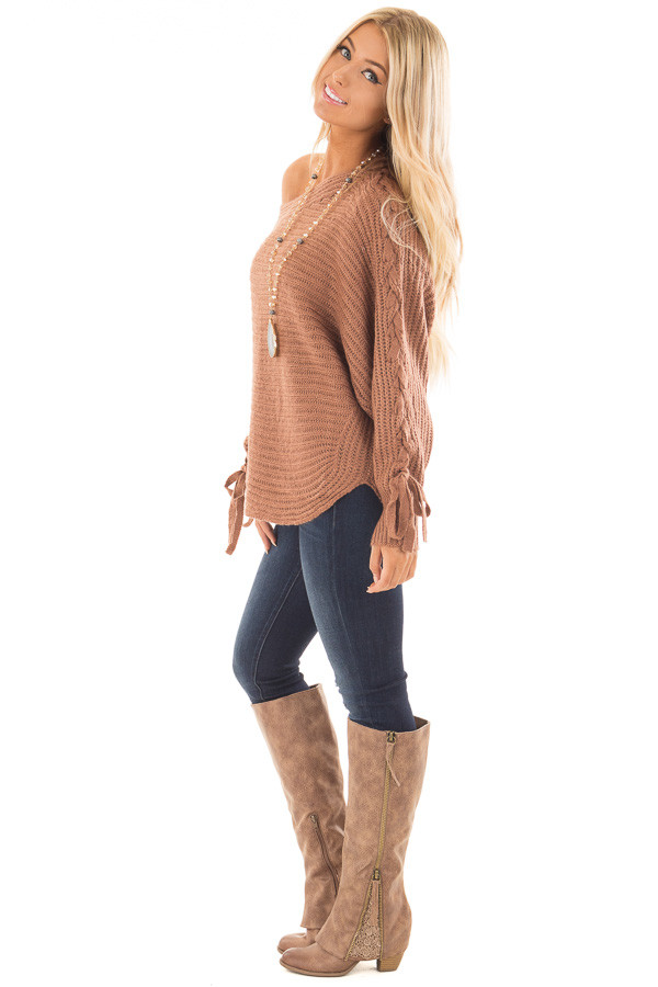 Deep Marsala Long Sleeve Sweater with Lace Up Sleeves side full body