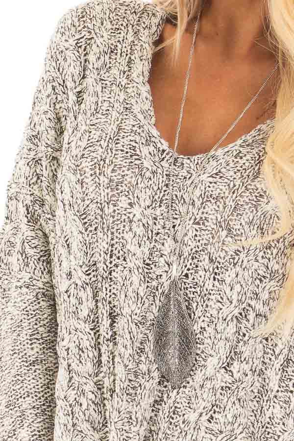 Black and Ivory Two Tone V Neck Tunic Sweater detail