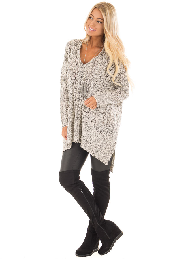 Black and Ivory Two Tone V Neck Tunic Sweater front full body