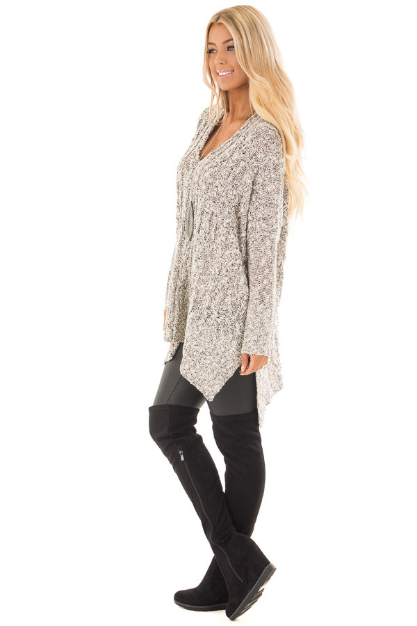 Black and Ivory Two Tone V Neck Tunic Sweater side full body