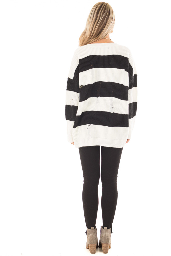 Black and White Vintage Striped Distressed Sweater back full body