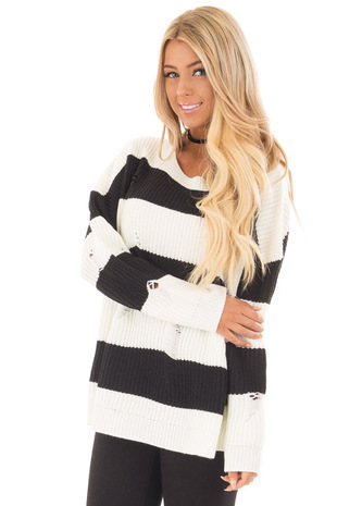 Black and White Vintage Striped Distressed Sweater front close up
