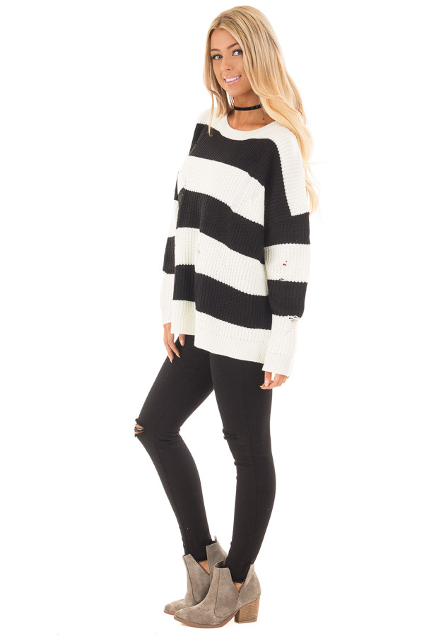 Black and White Vintage Striped Distressed Sweater side full body