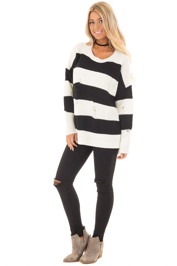 Black and White Vintage Striped Distressed Sweater front full body