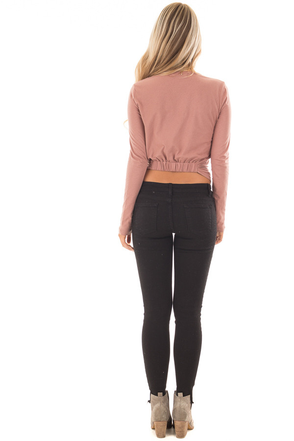 Mauve Long Sleeve Knot Front Top with Breast Pocket back full body
