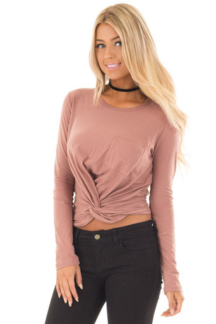 Mauve Long Sleeve Knot Front Top with Breast Pocket front close up