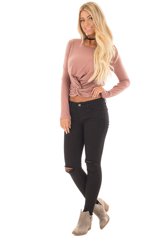 Mauve Long Sleeve Knot Front Top with Breast Pocket front full body