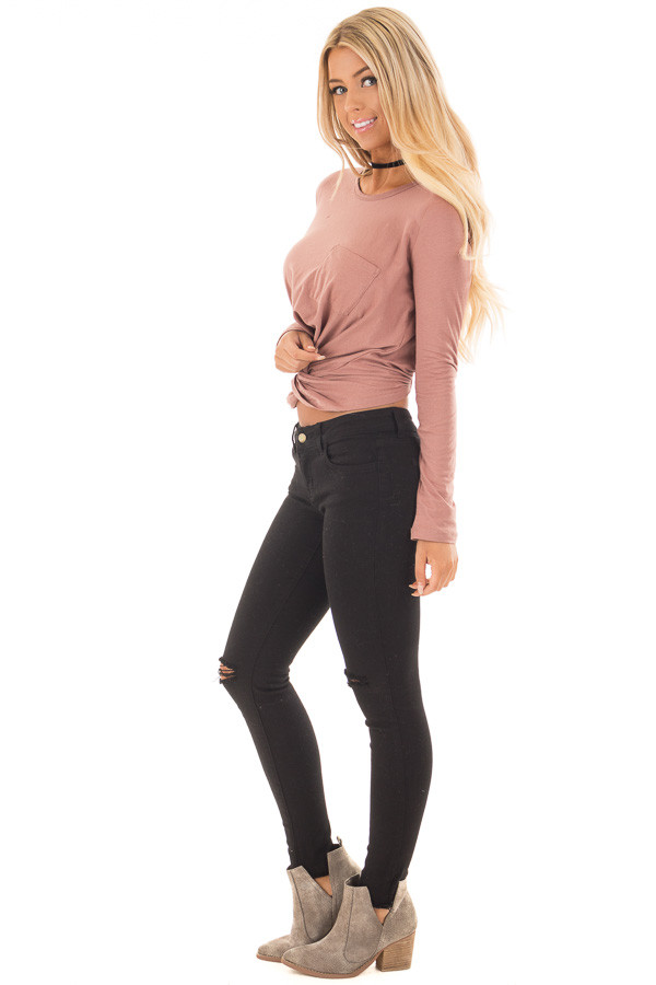 Mauve Long Sleeve Knot Front Top with Breast Pocket side full body