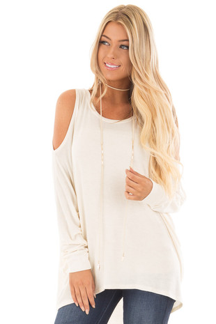 Ivory Cold Shoulder Long Sleeve High Low Knit Top front close up