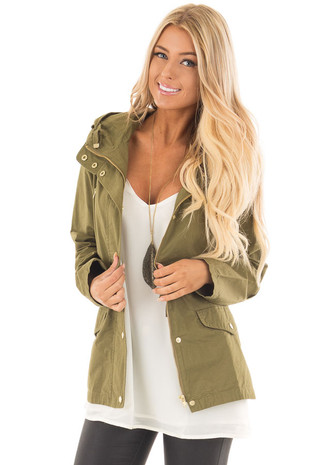 Olive Hooded Cargo Jacket with Drawstring Waist front close up
