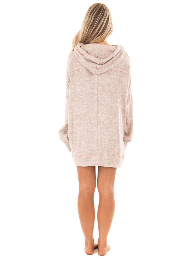 Blush Two Tone Knit Hoodie with Keyhole Detail back full body